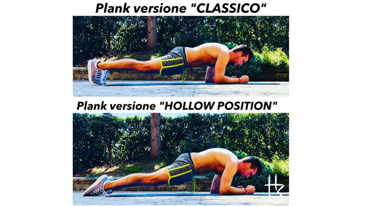 Plank: hollow body position e forza di torsione in rotazione esterna.